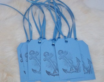 NAUTICAL GIFT TAGS Handmade Anchor Gift Tags Set of Twelve