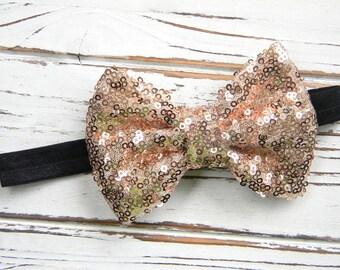 Gold Sequin Bow Headband - Sequin Bow Headband - Baby Bow Headband