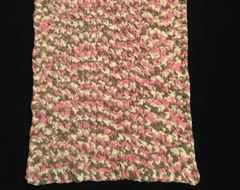 Pink  Camo Super Soft  Baby Blanket, Chunky blanket, Chunky Blanket for Baby Girl, Baby shower gift, Soft Baby Girl Blanket, Baby  Afghan