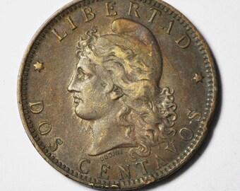 1891 2c Argentina Two Centavos Bronze Coin KM33