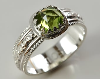 Peridot Ring in Sterling Silver, Faceted Cushion Green Peridot Ring, August Birthstone, Engagement Promise Wedding Romantic Gemstone Ring