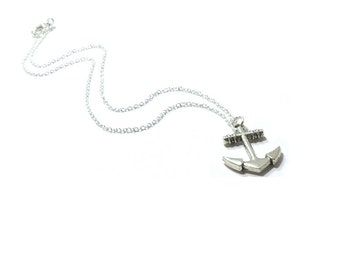 Anchor Pendant Necklace , Minimalist Jewelry , Sterling Silver Chain , Nautical Jewelry , Unisex Necklace
