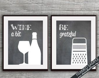Funny Kitchen Art Print Set (Wine and Cheese Grater) Set of 2 - Art Prints (Featured on Blackboard)