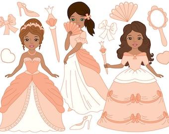 African American Princess Clipart - Digital Vector Princess, Girls, Fairytale Clip Art