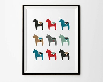 Dala horse print, 5 x 7 in, 8 x 10 in, 11 x 14 in, Scandinavian prints, Swedish print, Wall art poster, Home Decor