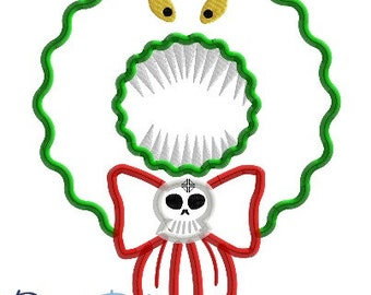 NBC Nightmare Before Christmas Wreath - 4x4, 5x7, 6x10, 7x10, 8x10 in 9 formats - Applique - Instant Download - David Taylor Digitizing