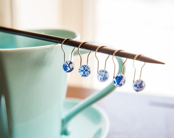 Shabby Chic Blue and White Floral Bulb Pin Stitch Markers