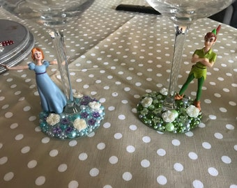 Peter pan and wendy hand decorated wine glass set
