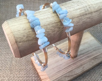 Aquamarine Gemstone Chips Wire Wrapped Natural Stone Bangle Bracelet