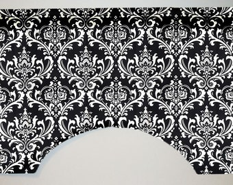 Premier Prints Ozborne Contemporary Damask Custom Valance Curtain, Black and White, Lined