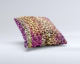 Vibrant Striped Cheetah Animal Print ink-Fuzed Decorative Throw Pillow