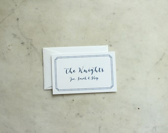 family calling cards / gift enclosures, navy and white