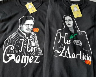 Gomez and Morticia Addams - His and Her Couples shirts - Great for Valentines Day or a Wedding Gift