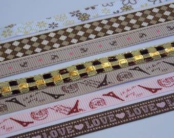 1 meter Ribbon pink / brown / beige grosgrain Ribbon scrapbooking sewing decoration