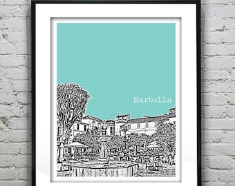 Marbella Spain Poster Art Print City Skyline Orange Square