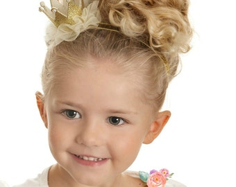 Gold baby crown headband- crown headband - baby headband- Gold princess crown- infant crown headband - newborn crown glitter crown