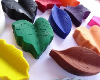 12 Leaf Crayons - Novelty Crayons - Party Favor - Easter Basket - Stocking Stuffer