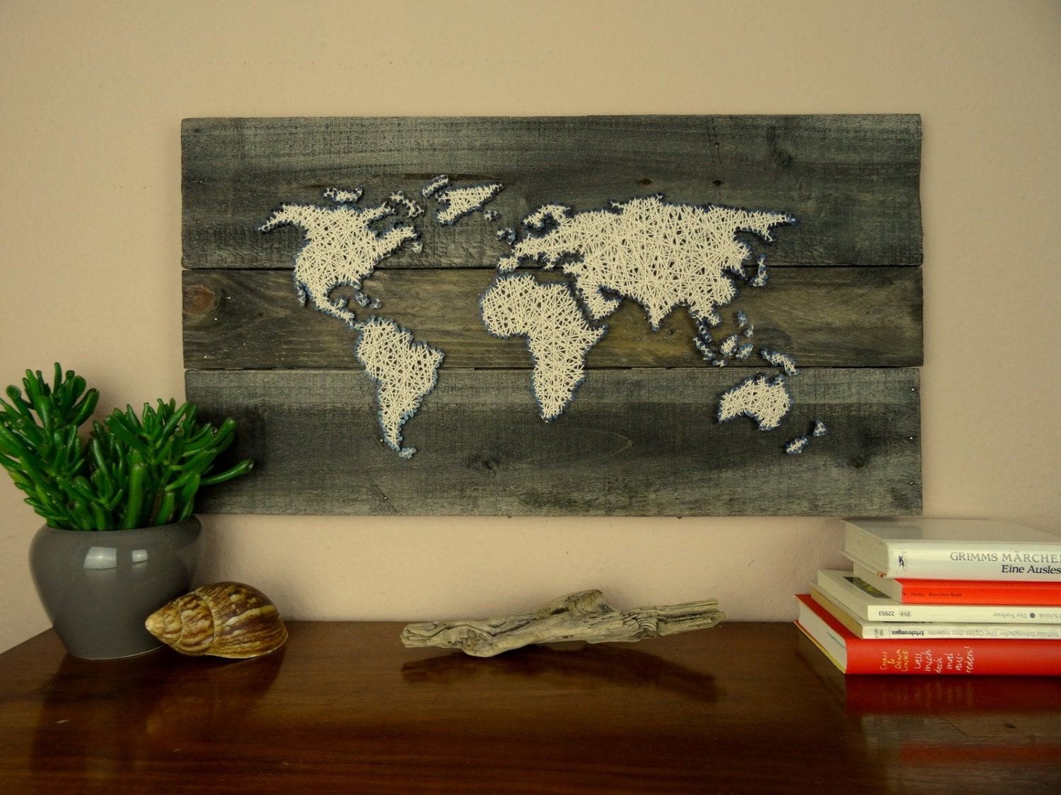 World map string art gift for couple reclaimed wood zoom gumiabroncs Gallery