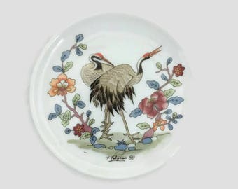 Vintage Lufthansa Collectible Coaster -  Small Plate - Cranes - Porcelain - 1990