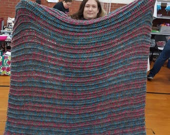 Large gray, pink and blue blanket