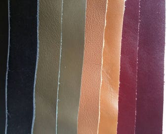 8 rectangles of smooth leather / Burgundy/camel/khaki/black / leather/leather samples / flat leather / basic leather colors / burgundy leather