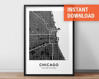 Chicago Map Print, Chicago Map Download, City Map Chicago, Chicago Street  Map,