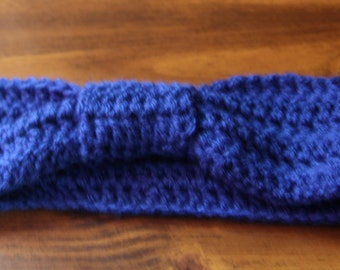 Ear Warmer, Woman's Ear warmer, Head Band, Blue Head band, Blue Earwarmer, Knotted Head Band, Accessory, Woman, Winter, Crochet Ear Warmer