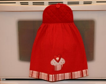 "SALE - CUPCAKE LOVER - Double Layered Hanging Dish Towel - ""Cupcake Love"" with red button & red pot holder top"