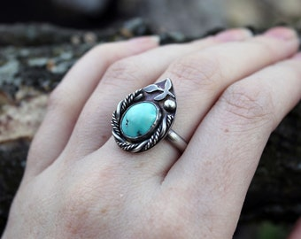 Turquoise Southwestern Ring in Sterling Silver Size 9