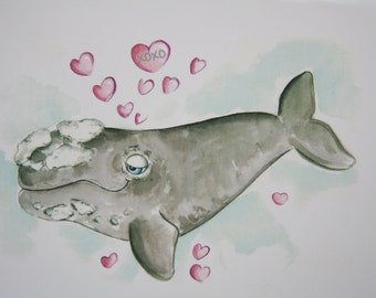 Right Whale Card - Be My Valentine Day Card with envelope