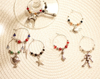 David Bowie inspired wine glass charms, DB, music, Aladdin Sane, Ziggy Stardust, starman, Major Tom, Let's dance, diamond dogs