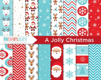 Digital Paper - Jolly Christmas, Scrapbook Paper, Digital Pattern, Commercial Use, JPEG, PDF