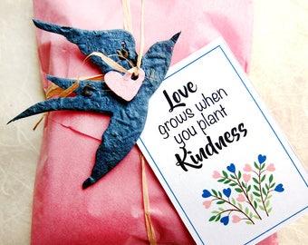 25 Flower Seed Paper Swallows - Plantable Bird Wedding Favors - Love Grows Plant Kindness Tags Option - Faded Navy Blush Pink etc