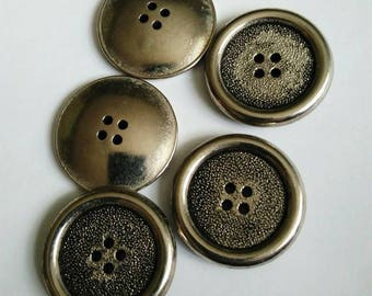 Set of 5 silver tone metal round buttons