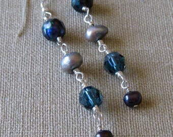 Linear Blue Wire Wrapped Freshwater Pearl and Swarovski Crystal Earrings