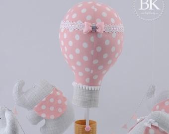 Baby Mobile -Nursery Mobile Polka Dot Gray and Pink