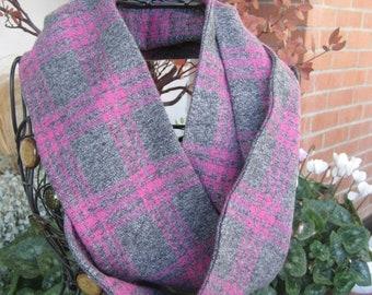 Pink/Heather Gray Plaid Infinity Scarf