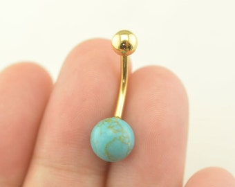 bellybutton jewelry turquoise bellyring 14k gold turquoise stone belly button piercing,belly ring