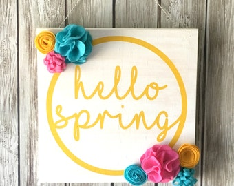 DIY KIT - Hello Spring Sign - Create Your Own - Craft Kit - Welcome Spring - Felt Flowers - Spring Decor - Easter Decor - Spring Home Decor