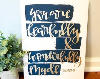 You are fearfully and wonderfully made- 11x14 canvas, nursery decor, fearfully made, baby shower gift, nursery wall art, nursery wall decor