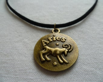 Aries choker,zodiac jewelry,Aries necklace, zodiac necklace,personalised, jewelry,black choker,astrology,star sign,suede choker,goat, ram