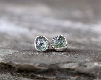 Raw Montana Sapphire Earrings - Blue Green Uncut Rough Montana Sapphire - Stud Earrings - Sterling Silver - Bezel Set Tiny Stud Dot Earring