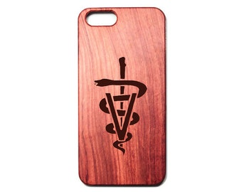 Laser Engraved Veterinary Caduceus Rosewood Phone case with polycarbonate dvm vmd vet veterinarian physician iphone 5, 6, 6p, 7, 7p