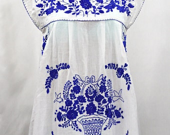 """Embroidered Mexican Peasant Top Cap Sleeves: """"La Boqueria"""" in White with Blue Hand Embroidery ~ Size LARGE"""