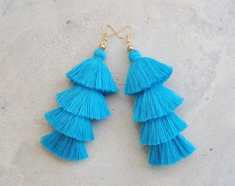 Four Layered Handmade Blue Tassel Earrings