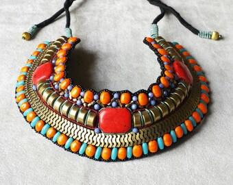 Statement Tribal bib necklace,  Gypsy Exotic Ethnic necklace