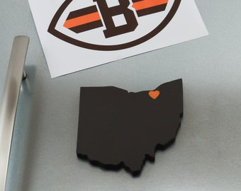 """Cleveland Browns """"State Heart"""" Magnet, handcrafted wood with official team colors"""
