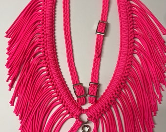 Fringe breast collar, headstall, horse tack set, horse, pink horse tack, paracord tack, breast collar