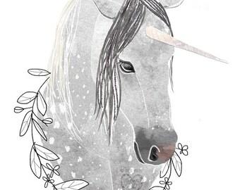 Rain- Watercolor Unicorn neutral canvas art. Beautifully textured cotton canvas art print. Order as an 8x10 11x14 or 16x20 size.