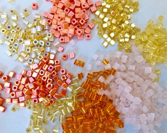 Japanese Square Cube Beads - Assorted Colors  3.5x3mm  (100g)  (O)